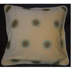 Crewel Pillow Polka Dot Cream Cotton Velvet (17x17)