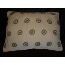 Crewel Pillow Polka Dot Green on Light Gold Cotton Velvet  (26x2