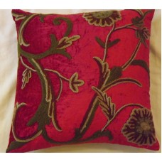 Crewel Pillow Sham Curve Bright Red Cotton Viscose Velvet (16x16