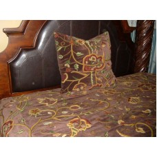 Crewel Pillow Lotus Dark Chocolate Cotton Velvet Decorative Euro