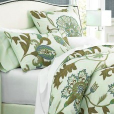 Crewel Pillow King Shams Giverny Green Tones on Ivory Cotton Duc
