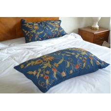 Crewel Pillow Sham Floral Spread Royal Blue Cotton Duck King (20