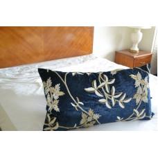 Crewel Pillow Sham Starry Night Royal Mint Blue Cotton Viscose V