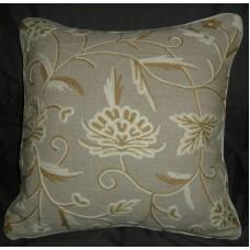 Crewel Pillow Calla Lily Natural Brown Linen (16x16)