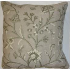Crewel Pillow Tree of Life Neutrals on Brown Linen (17x17)