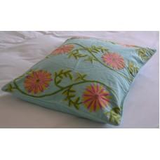 Crewel Pillow Sham Sunflower Vine Aqua Standard (20x26)