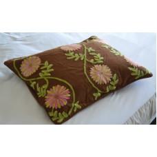 Crewel Pillow Sham Sunflower Vine Cocoa Standard (20x26)