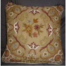 Crewel Pillow Art Nouveau Desert Sand Silk Organza (16x16)