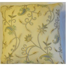 Crewel Pillow Almond RawSilk Silk Organza (20x20)