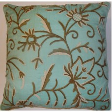 Crewel Pillow Marigold Crystal Blue Silk Organza (20x20)