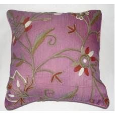 Crewel Pillow Marigold Queen Pink Silk Organza (16x16)