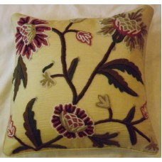 Crewel Pillow Sham Shalimar Troy Silk Organza (16x16)