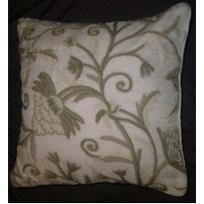 Crewel Pillow Tree of Life Neutrals on White Organza (16x16)