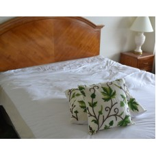 Crewel Pillow Sham Peace Earthly Greens & Brown Silk Dupioni (16