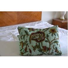 Crewel Pillow Quilted Sham Lotus Sweet Ocean Green Silk Organza