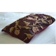Crewel Pillow Sham Wintertime Vermilion Silk Standard Sham (20x2