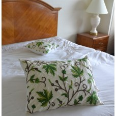 Crewel Pillow Sham Peace Earthly Greens & Brown Silk Dupioni Sta