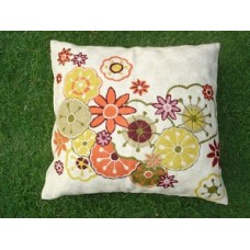Crewel Pillow Blossoms Multi color on White Cotton Duck
