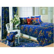 Crewel Bedding Random Flowers Royal Blue Cotton King