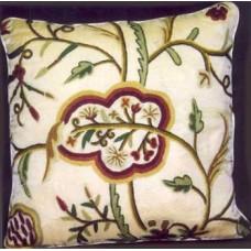 Crewel Pillow Lotus Cream Cotton Velvet-26x26