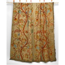 Crewel Drape Antique with Birds and Strawberry Vines Multi Cotton Duck