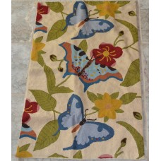 Crewel Rug Butterfly Cream Chain Stitched Wool Rug (5x7FT)