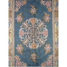 Crewel Rug Gulchand Blue Chain Stitched Wool Rug (4x6FT)