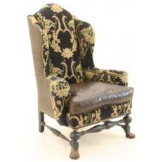 Crewel Bloom Black Velvet Upholstered  Wing Chair