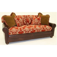 Crewel Bloom Passion Red cotton Velvet Upholstered Sofa