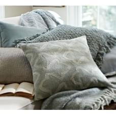 Crewel Pillow Brielle Light Blue Cotton Duck