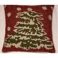 Christmas Tree Embroidered Pillow Cover (18X18 Inches)