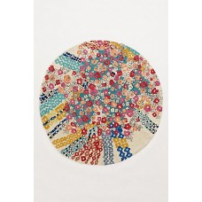 Crewel Rug Confetti Flora Multi Round Chain Stitched Wool Rug