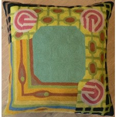 Crewel Chainstitched pillow Strano Sea Green on Yellow Cotton Du
