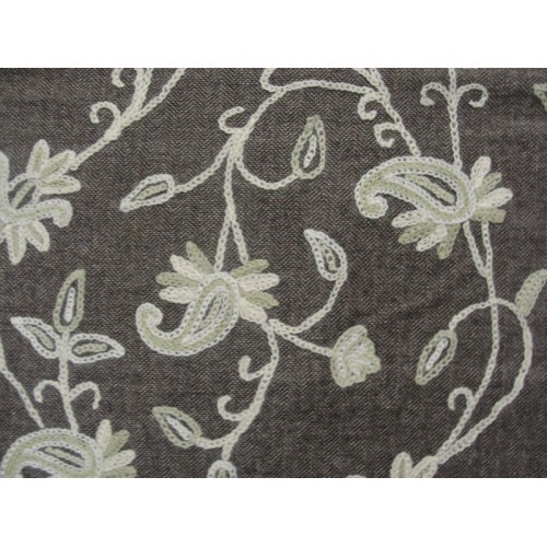Crewel Fabric Almond Flora Neutrals On Nutmeg Herringbone Wool