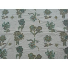 Crewel Fabric Blooming Flowers Greens on White Cotton Duck