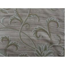 Crewel Fabric Curve Nuevo Blues on Beige Cotton Duck