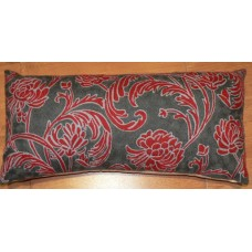 Crewel Lumbar Pillow Chelsea Red on Grey Cotton Duck