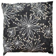 Crewel Pillow Allium whites on black Cotton Duck