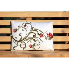 Crewel Pillow Aparajita Red on white Cotton Duck