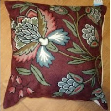 Crewel Pillow Atherton Deep Maroon Cotton Duck