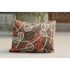 Crewel Pillow Banyan leaves Choco Brown Cotton Duck