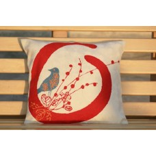 Crewel Pillow Birdie in the nest Red on White Cotton Duck