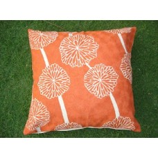 Crewel Pillow Bloom and blossom White on Orange Cotton Duck