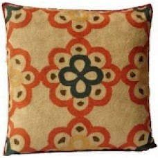 Crewel Pillow Blossom and Shades Orange on Cream Cotton Duck