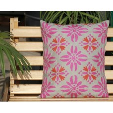 Crewel Pillow Blossom from heaven Pinks on White Cotton Duck
