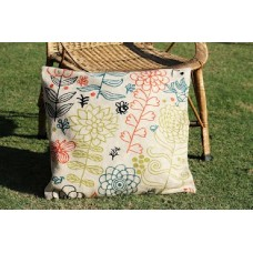Crewel Pillow Blossoms and Bees Multi Cotton Duck