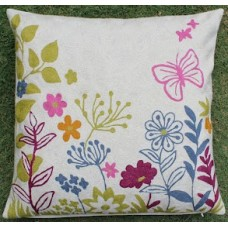 Crewel Pillow Blossoms & butterfly White Cotton Duck