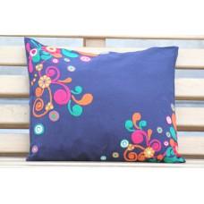 Crewel Pillow Bright colors Royal Blue Cotton Duck