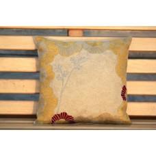 Crewel Pillow Bright floral Cream Cotton Duck