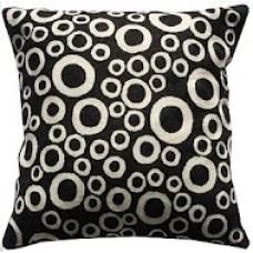 Crewel Pillow Bubbles White on black Cotton Duck